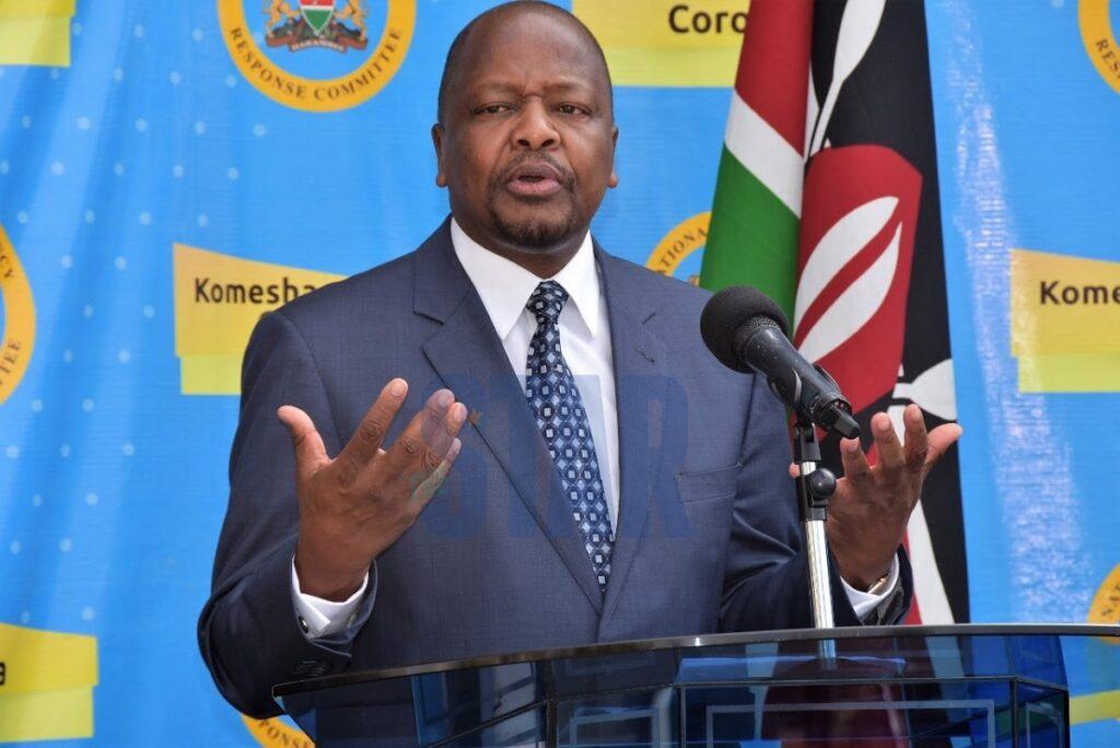 Mutahi Kagwe Cs Health during a recent covid press briefingat a