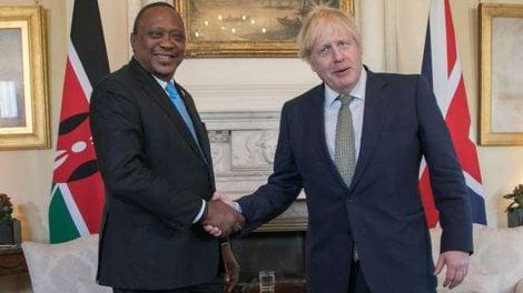 President Uhuru Kenyatta shakes hands with UK Prime Minister Boris Johnson DURING THE SIGNING OF A DEAL TO EMPLOY KENYAN NURSES IN THE UK.