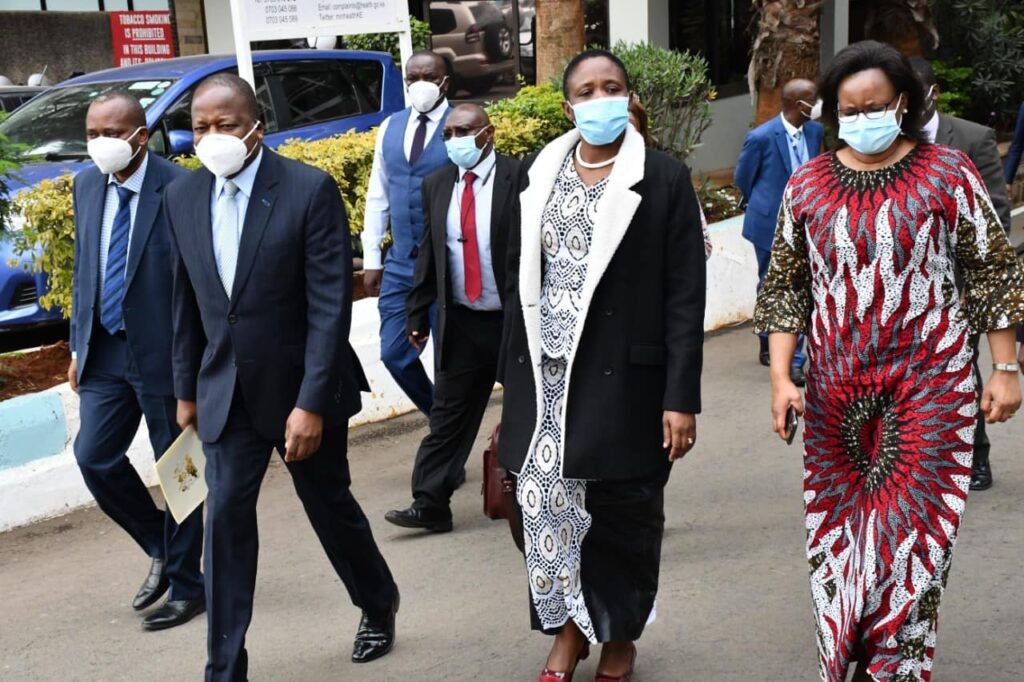 CS for health Mutahi Kagwe and his tanzania counterpart Dorothy Gwajima when the latter paid the former a official visit in his offices.